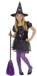 Disfarce bruxa preto e roxo rapariga Halloween