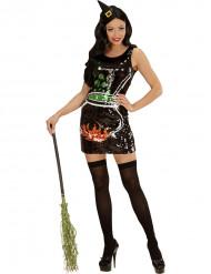 Disfarce bruxa sequins caldeirão mulher Halloween