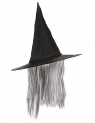 Chapéu de bruxa preto com peuca cinzenta adulto Halloween