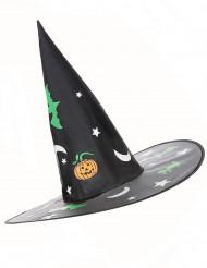 Chapéu de bruxa com decorações Halloween