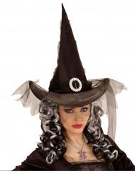 Chapéu de bruxa preto mulher com véu
