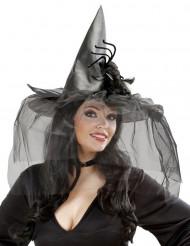 Chapéu bruxa com véu e aranha mulher Halloween