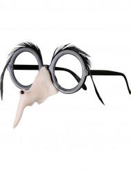 Óculos nariz e sobrancelhas de bruxa mulher Halloween