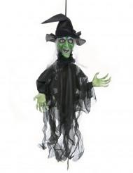 Decoração bruxa animada luminosa e autofalante halloween
