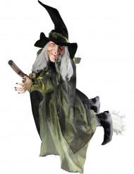 Decoração bruxa voando na vassoura 100 cm Halloween