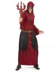Disfarce conde satânico vermelho homem Halloween