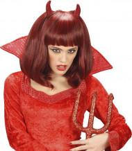 Peruca semi comprida demônio vermelho mulher Halloween