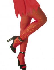 Meia calça vermelha com chamas adulto Halloween