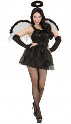 Disfarce anjo preto mulher Halloween