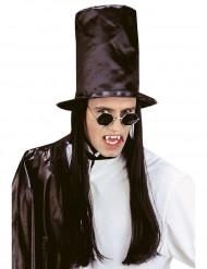 Chapéu alto com cabelo preto adulto Halloween