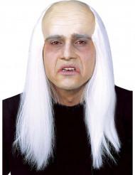 Peruca com crânio careca e cabelos brancos adulto