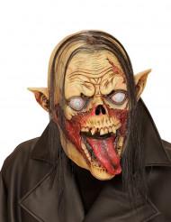 Máscara vampiro zombie com cabelos adulto Halloween