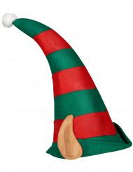 Gorro duende do Pai Natal com orelhas adulto