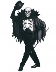 Disfarce de esqueleto cm capa adulto Halloween