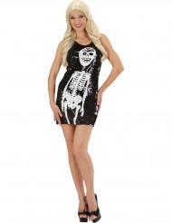 Disfarce vestido esqueleto sequins mulher Halloween