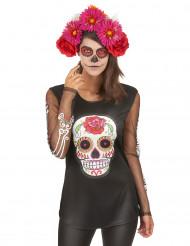 T-shirt esqueleto colorido mulher Dia de los muertos