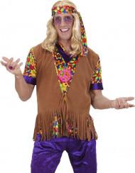 Colete hippie castanho com franjas homem