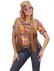 Casaco hippie castanho com franjas mulher