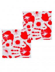 12 Guardanapos de papel Mãos ensanguentadas Halloween