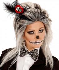 Mini chapéu esqueleto e laço mulhre