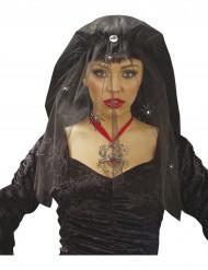 Véu víuva negra com aranhas mulher Halloween
