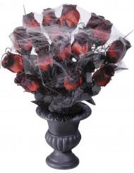 Buquê rosas vermelhas teia aranha 35 cm Halloween