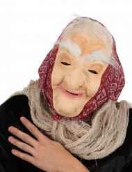 Máscara bruxa velha com cabelo e bandana mulher Halloween