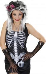 Luvas teia de aranhas com caveira brilhante mulher Halloween