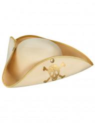 Chapéu de Pirata bege e dourado para senhora