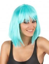 Peruca semi-longa azul mulher