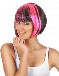 Peruca curat com madeixas pretas e cor-de-rosa mulher