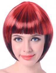 Peruca curta vermelha e preta mulher !