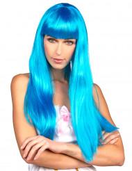 Peruca azul comprida com franja mulher