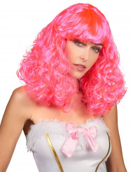 Peruca semi-longa ondulada cor-de-rosa para mulher