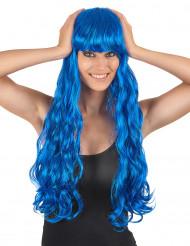 Peruca Longa Ondulada azul com franja para mulher