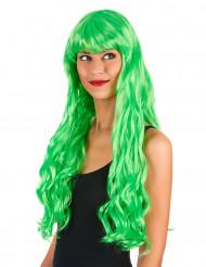 Peruca comprida ondulada verde com franja mulher