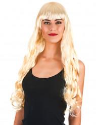 Peruca comprida loura ondulada com franja mulher
