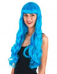 Peruca longa ondulada azul marinho para mulher