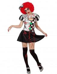 Disfarce arlequim sexy ensanguentado mulher Halloween