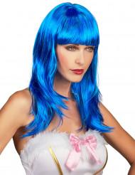 Peruca comprida azul com franja mulher