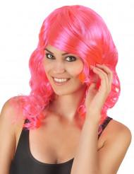 Peruca semi-longa ondulada cor-de-rosa mulher