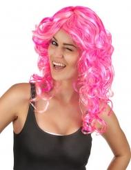 Peruca encaracolada cor-de-rosa mulher