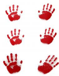 6 Pegadas mãos sangrentas Halloween