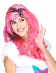Peruca longa glamorosa rosa para mulher