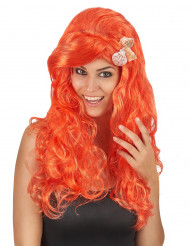 Peruca comprida cor de laranja mulher
