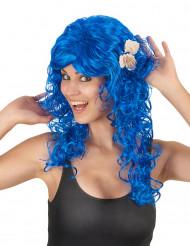 Peruca comprida azul para mulher