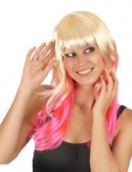 Peruca Tie & Dye louro e cor-de-rosa mulher