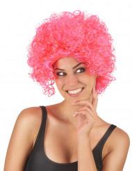 Peruca curta encaracolada cor-de-rosa mulher