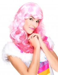 Peruca cor-de-rosa com franja mulher