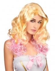 Peruca loura e cor-de-rosa mulher